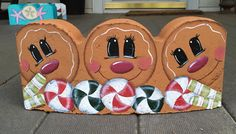 """My hand painted gingerbread and peppermint 12""""scalloped paver"""