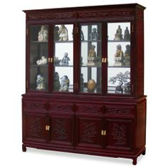 """72in Rosewood Flower and Bird Motif China Cabinet by ChinaFurnitureOnline. $3190.00. Upper: two adjustable shelves behind glass double doors, mirror back, halogen lights. Hand-applied cherry finish. Dimensions: 72""""W x 19""""D x 82""""H. Lower: four drawers and two double door compartments. A grand curio cabinet to display your treasured collectibles. Hand-carved flower & bird motif which symbolize happiness and good luck in Chinese culture decorated the entire cabinet. Mad..."""