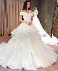 Find More Wedding Dresses Information About Puffy V Neck Turkey Vestido De Novias Court Train Tiered