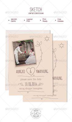 Sketch Invitation — Photoshop PSD #romance #fancy • Available here → https://graphicriver.net/item/sketch-invitation/6132538?ref=pxcr