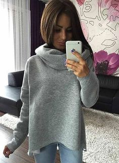 QPFJQD 2018 Women Clothes Winter Hoodies Scarf Collar Long Sleeve Fashion Ladies Autumn Casual Sweatshirts Moletom Feminino S-XL Hoodie Sweatshirts, Collared Sweatshirt, Estilo Grunge, Shirt Bluse, Winter Hoodies, Warm Hoodies, Cotton Hoodies, Style Casual, Winter Outfits Women