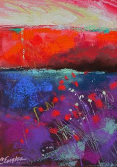 Carol Engles Art: Red and Violet, Two, abstract landscape by Carol Engles