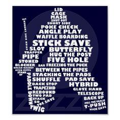 Hockey Goalie Typography Poster