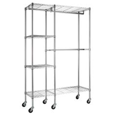 Portable And Expandable Garment Rack In Black Chrome 18 Months Amazing Roll Out Of The Closetamazon Alera Wire Shelving Garment Rack