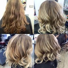 heavy long caramel locks transformed to a lovely textured lob this look was created using goldwell colours and ksm products and ghd to style . creamy blonde at is best