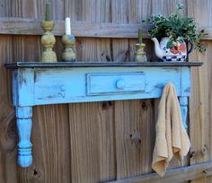 Farmhouse Style Headboard, Window Cornice, Towel Bar Or Coat Rack, Country Sky Blue MADE TO ORDER. $65.00, via Etsy.