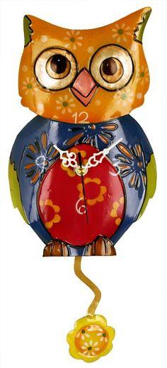 Multicolor coruja Relógio de Parede criancas com flor Pendulum