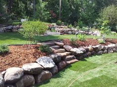 2012 Landscaping - traditional - landscape - minneapolis - by Friedges Landscapi. - 2012 Landscaping – traditional – landscape – minneapolis – by Friedges Landscaping - Landscaping With Boulders, Large Backyard Landscaping, Landscaping Retaining Walls, Sloped Backyard, Sloped Garden, Landscaping Ideas, Backyard Ideas, Privacy Landscaping, Cozy Backyard