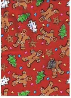 Fat Quarter Cotton Quilt Fabric Christmas Cookies Gingerbread Men | auntiechrisquiltfabric - Craft Supplies on ArtFire