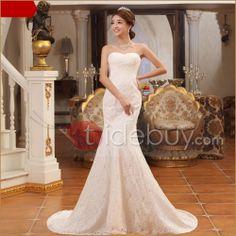 偉大なトランペット/マーメイド恋人チャペルトレーンレースウェディングドレス
