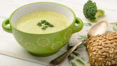 """""""Creamy"""" Broccoli Soup - Shaun Lindsey - """"Creamy"""" Broccoli Soup This vegan broccoli soup is as rich and thick like a cream-based soup, without the fat or guilt. Hint: It's blending the veggies that makes it so hearty. Vegan Broccoli Soup Recipe, Cream Of Broccoli Soup, Dairy Free Recipes, Vegan Recipes, Cooking Recipes, Detox Recipes, Wine Recipes, Detox Foods, Clean Eating"""