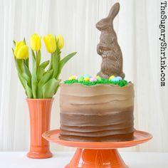 Easter Bunny Chocolate Cake presented on Fiesta® Dinnerware   The Sugary Shrink