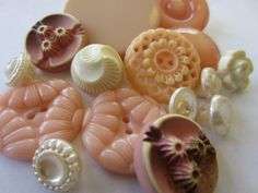 Vintage Buttons - Cottage chic mix of fancy pastel pinks and off white.  One of the crazy things that make my heart skip a beat.