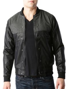 LE3NO Mens Vintage Faux Leather Varsity Bomber Jacket with Pockets