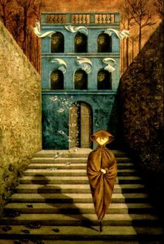 Ruptura, 1955. Óleo sobre masonite. 95x60 cm. Colección particular. Surrealismo.Remedios Varo. (Oil on masonite panel).