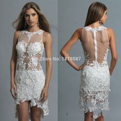 2015 Hot Sell Lace Beaded Cocktail Dress Hollow Back Sheath High Low Prom Dresses Party Gowns Prom gowns High Low Prom Dresses, Prom Dresses 2015, Prom Party Dresses, Party Gowns, Evening Dresses, Short Dresses, Gown Pictures, Dress Images, White Cocktail Dress