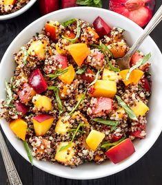 Quinoa and stone fruit salad? Interested? You should be! This combo makes for one of the most satisfying fruit salads you've ever tasted. Take this healthy dish to brunch or prep it on Sunday to eat off of all week!