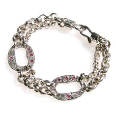 Twin chains: Silver 925 & Rubies