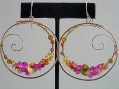 French Girl...Fuchsia Ruby Orange Yellow Sapphire Encrusted Mixed Metal Sterling Gold Filled Signature Original Hoop Earrings. $258.00, via Etsy.