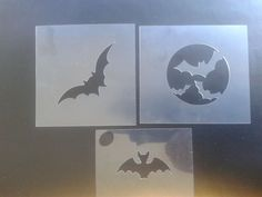 3 x different bat face painting stencils  scary spooky  Great Face painters tool…