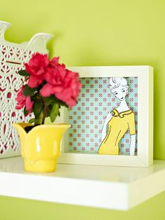 Easy DIY Art Project  Give the laundry room personality with great accents, including three-dimensional artwork. Cut an image from a vintage book or advertisement and glue it to the front of a shadow box. Line the inside of the box with pretty fabric or paper that coordinates with your room.