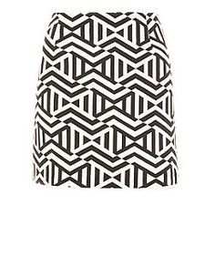 Black Zigzag Aztec Jacquard Skirt  | New Look