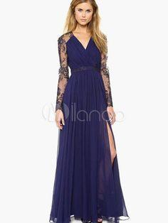 Vestido largo de encaje con cuello en V adornado con encaje con abertura lateral con manga larga elegante - Milanoo.com