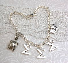 SIGMA SIGMA SIGMA Sorority Silver Plated Charm Bracelet by CatalinasTreasures, $21.00  turtle, lil sister heart charm with rhinestone crystal