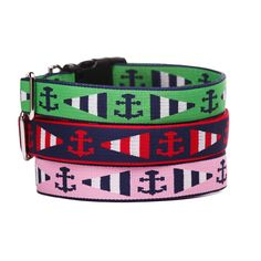 """Coastal canines and sea-faring pups look sharp in our Newport Dog Collar. This nautical collar design features anchors and stripes printed on durable webbing. Made from recycled plastic bottles, this dog collar is lightweight, quick-drying and machine washable. Medium Dog Collar 3/4 """" width, in two lengths: 8"""" - 14"""" or 12"""" - 20"""" Large Dog Collar 1"""" width, in two lengths: 12"""" - 20"""" or 16"""" - 26"""" $0.00"""
