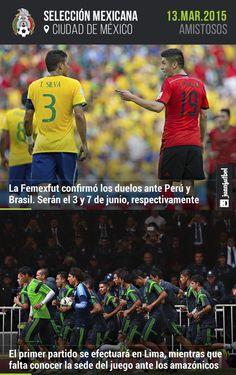 México enfrentará a Perú y Brasil el 3 y 7 de junio, respectivamente.