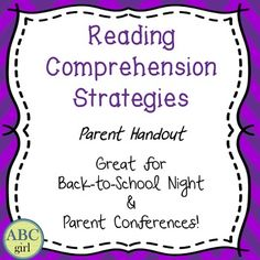 This is a one-page handout on reading comprehension strategies.  Perfect for Back-to-School night or Parent Conferences!This is a great handout for back-to-school night or parent conferences!Visit my store for more parent resources!Reading and Writing Parent Handout Word-Attack Strategies Parent HandoutMath Games - Parent HandoutFundations Kindergarten SMART Board Letter Cards Fundations Level 1 SMART Board Letter Cards Fundations Level 2 SMART Board Letter Cards Fundations Level 3 SMART…