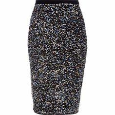 Yessssssssssssssss!!!!!!!!!!! With a turtleneck, opaque tights and suede booties! { black sequin embellished pencil }