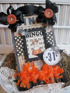 vintage style layered bingo card little boy in pumpkin 31 plaque sign decoration Halloween Paper Crafts, Halloween Tags, Fall Halloween, Halloween Ideas, Halloween Party, Halloween Decorations, Christmas Crafts, Bingo Board, Cherries Jubilee