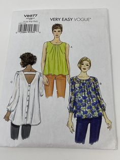 Uncut Sewing Pattern/Easy Vogue V8977/Blouse Top Pattern/Vogue | Etsy