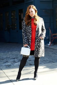 "Next-Level Outfits From Yours Truly #refinery29  http://www.refinery29.com/editor-fashion-week-outfits#slide-38  Gina Marinelli, associate fashion features editor ""As far as I'm concerned, dressing for Fashion Week in the winter starts with a great coat. (Because, I don't think I ever took mine off...usually not even when sitting inside.) My favorite new leopard number got plenty of action this week. To punch up the gray, I layered together pops of baby blue, a perfect shade..."