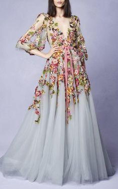 Prom dresses long with sleeves - Embroidered VNeck Gown, Long Sleeve Prom Dress,Tulle Party Dress,Flower Evening Dress,Party Dress With Appliques – Prom dresses long with sleeves Tulle Prom Dress, Party Dress, Maxi Dresses, 60s Dresses, Ladies Dresses, Beautiful Gowns, Beautiful Outfits, Prom Dresses Long With Sleeves, Formal Dresses
