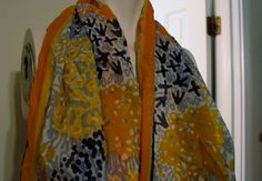 Vintage 70's Vera Oblong Scarf Japan Polyester Yellow Orange Black Floral  #Vera #Scarf