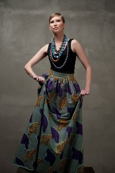 Everything about this skirt and look are saying GIVE ME! Don't know where I'd wear it...but I would! SUBIRA WAHURE: LONG KITENGE SKIRT