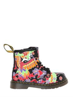 DR.MARTENS - FLORAL & BIRD PRINTED LEATHER BOOTS - LUISAVIAROMA - LUXURY SHOPPING WORLDWIDE SHIPPING - FLORENCE