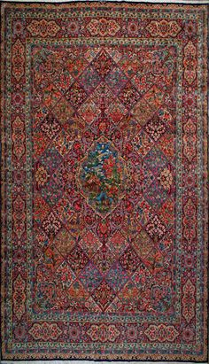 """Kerman Persian Rug, Buy Handmade Kerman Persian Rug 11' 6"""" x 16' 1"""", Authentic Persian Rug"""