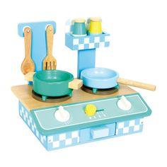 COCI22.01.Cocina de madera pequeña en tonos azul pastel de juguete para niños