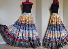 Japanese Garden Long Bohemian Patchwork skirt by BarefootModiste, $135.00