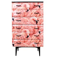 Upcycled Mid Century Meredew Chest of Drawers in Flamingo Decoupage