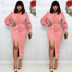 Chic V Neck Pink Ruched Bodycon Elegant Long Sleeve Dress M-XL – colintime Classy Work Outfits, Classy Dress, Stylish Outfits, Corporate Attire Women, Corporate Fashion, Ladies Day Dresses, Pink Formal Dresses, Workwear Fashion, African Fashion Dresses