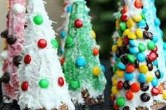 Ice Cream Cone Christmas trees    Kids love these, they are easy to make.    Cover sugar cones with frosting, vanilla is the best.  I keep it white or use green food coloring.  Decorate them with sprinkles, m's, mini chocolate chips, coconut, whatever your favorites are.  I use the Keebler fudge striped cookies as the base.  I put a surprised inside mine, a chocolate Santa or a Hershey kiss.