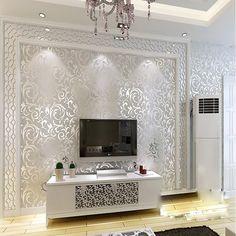 QIHANG Sliver Gray Victorian Damask Embossed Textured Wallpaper High Quality 0.53m*10m=5.3㎡ - - Amazon.com