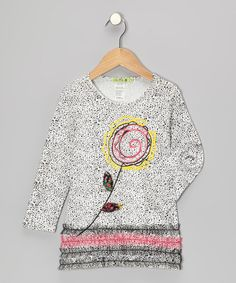 Take a look at this Black & White Doodle Flower Top - Toddler & Girls by Little Mass on #zulily today!