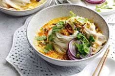 Noodles are my go-to meal – any time of day. In Northern Thailand, I love bowls of coconutty khao soi for breakfast, or in Tokyo a steaming bowl of ramen laced with chilli at lunch. Mee goreng is a fast, easy snack, and chicken noodle soup. Pork Recipes, Cooking Recipes, Chicken Recipes, Recipies, Khao Soi, Fresh Turmeric, Roasted Shrimp, Coconut Chicken, Stuffed Whole Chicken