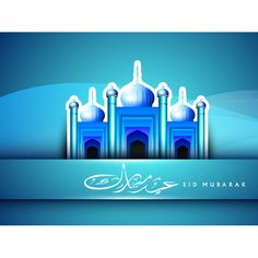 Vector Abstract beautiful blue background with Arabic Islamic Eid Mubarak Calligraphy with Blue 3d iconic mosque