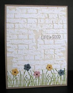 brick' embossing folder by Tim Holtz (Sizzix) Inked embossing folder with brown/sand ink and then embossed white card.